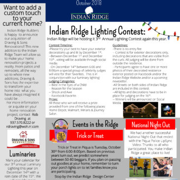Indian Ridge – October 2018 Newsletter!!!