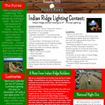 Indian Ridge November 2019 Newsletter